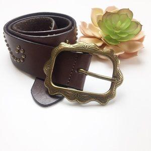 Boho Western Stud Embellished Leather Belt Brown